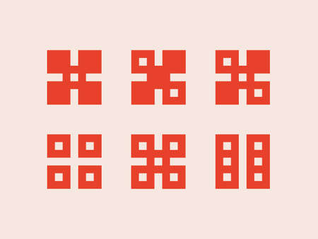 Set of logos with geometric ornament in the form of dice  イラスト・ベクター素材