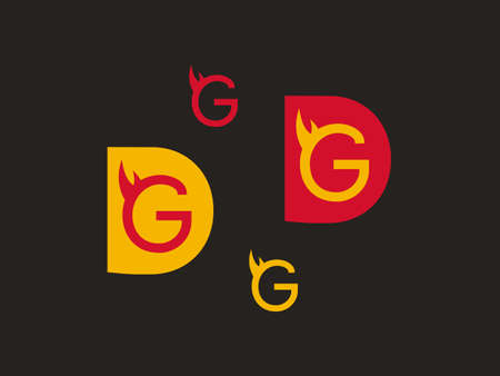Red and yellow G with flames  イラスト・ベクター素材