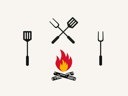 Spatula and fork for grilling and barbecue