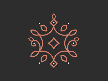Ornament in natural style on a dark background