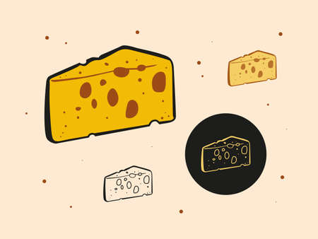 Set of triangular pieces of cheese with holes  イラスト・ベクター素材