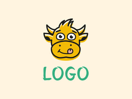 logo with a cartoon cow that licks its lips  イラスト・ベクター素材