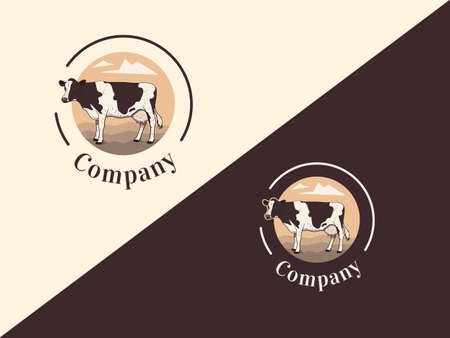 Set of icon with a cow on a landscape background