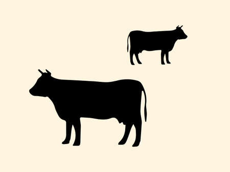 Two black silhouettes of a cow on a light background