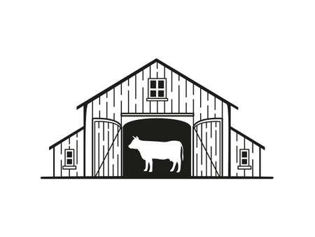 Icon with the image of a barn with a cow inside  イラスト・ベクター素材