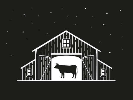Night illustration of a barn with a cow inside  イラスト・ベクター素材