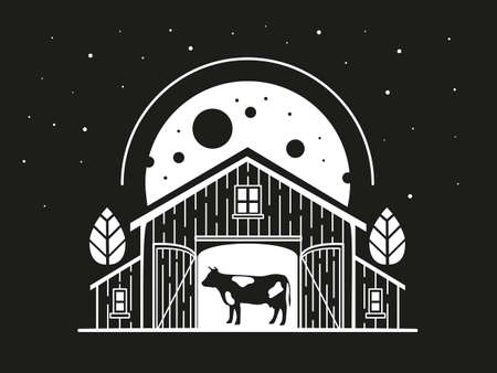 Night illustration with a cow inside a barn