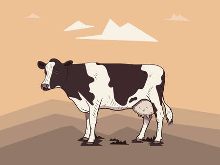 Realistic drawn cow on a light landscape background