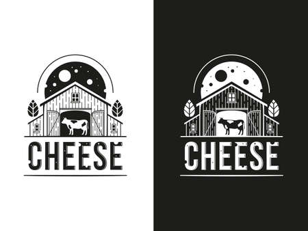 Set of logos with a cow inside a barn and cheese