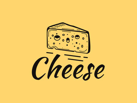 Outline logo of a piece of cheese with holes