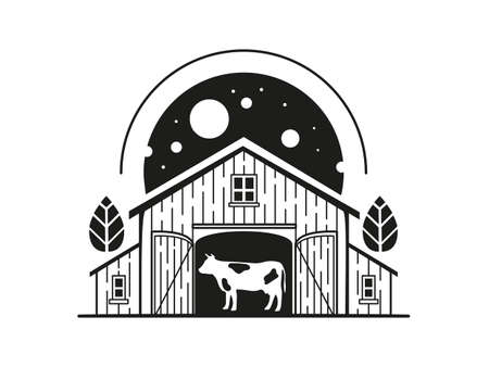 Illustration with a cow inside a barn  イラスト・ベクター素材