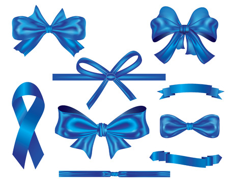 collection of luxury blue ribbon and bows for decoration and design Illustration