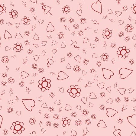Nahtloser Hintergrund am Valentinstag. Die Textur von Stoff und Design Vektorgrafik