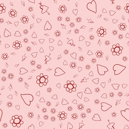 Seamless background on Valentines Day. The texture of fabric and design