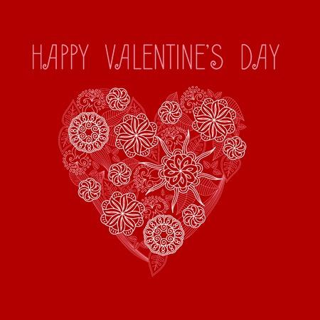 monocrome: Heart on Valentines Day. Vector monocrome illustration. Design element Illustration