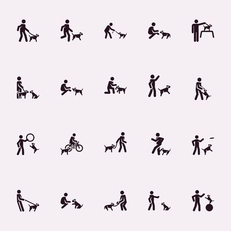 Stick figures. Man with dog. Vector Monochrome illustration