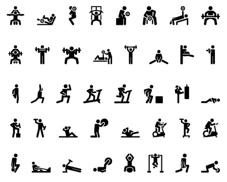icons: Stick figure. Sports icons. Vector Monochrome illustration Illustration