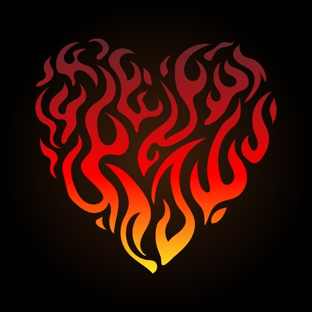 Flaming heart vector illustration color gradient on Valentines Day