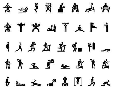 Stick figure. Sports icons. Vector Monochrome illustration