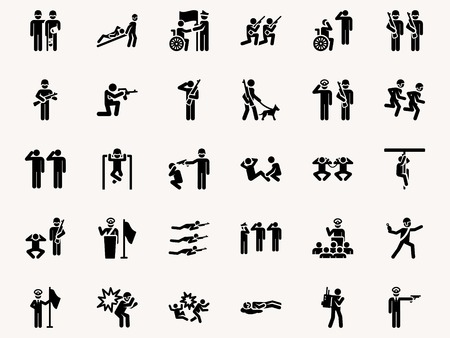 trooper: Stick figures Military pictograms. Vector Monochrome illustration pictogramms