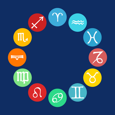 zodiacal symbol: Vector multicolored icons horoscope signs in circles