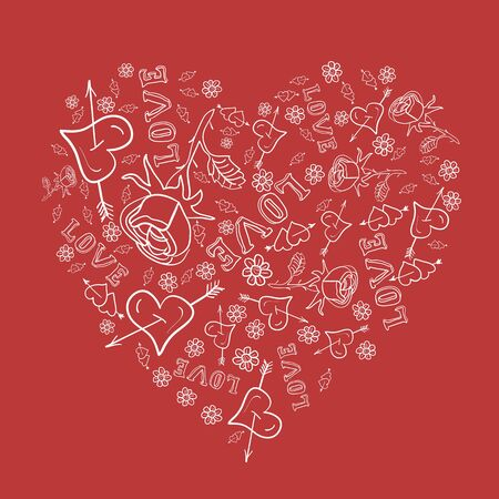 The heart consists of hand-drawn vector elements. Registration cards for Valentines Day Illustration