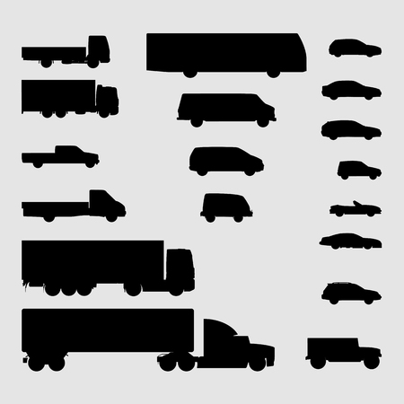 Monochrome monochrome vector icons of vehicles, passenger cars, SUVs, buses, trucks and other