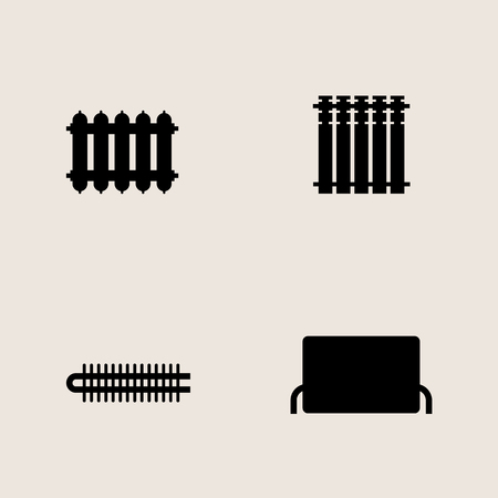Vector monochrome icon set central heating batteries Illustration