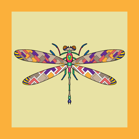 Vector hand-drawn sketch illustration of dragonflies painted in different colors