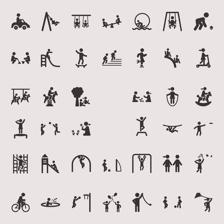 Icone vettoriali monocromatiche sul tema dell'intrattenimento e del tempo libero dei bambini Archivio Fotografico - 72000841