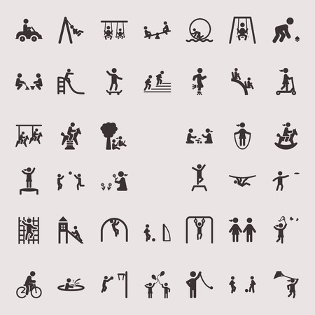 Vector monochrome icons on the theme of children's entertainment and leisure