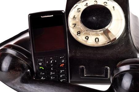 Photo of modern phone and old phone compared with themselves. Stock Photo - 10050161
