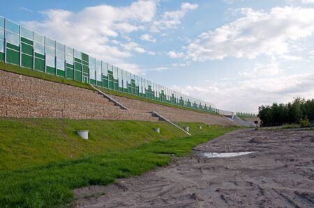 Photo of safety barriers near highway Stock Photo - 15714406