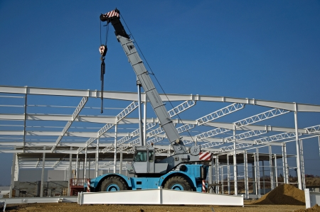 Photo of construction site of modern warehouse Stock Photo