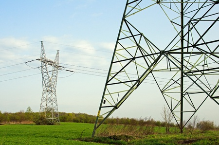 produce energy: Photo of high voltage lines Stock Photo