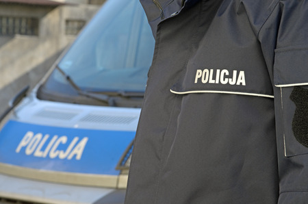Photo of polish police sign Stock Photo