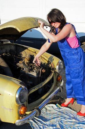 a photo of a woman car mechanic photo