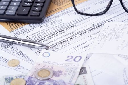 account statements: a photo of statements of account pit in Poland
