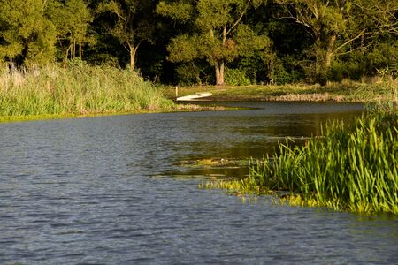 the color of silence: a photo of a beautiful sunny day on the river Stock Photo