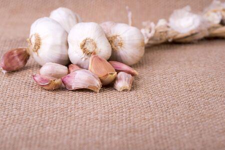 image of fresh garlic on jute sack
