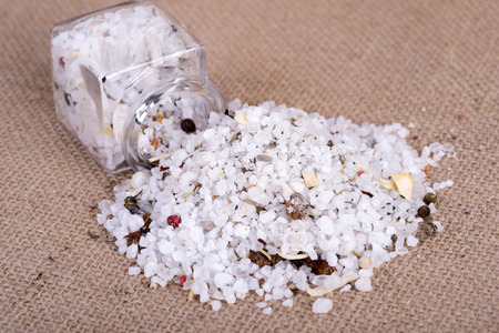 image of table salt herb in containers Stock Photo