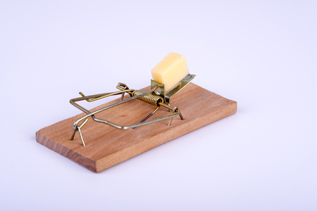 mouse trap: Photo of mouse trap on white background Stock Photo