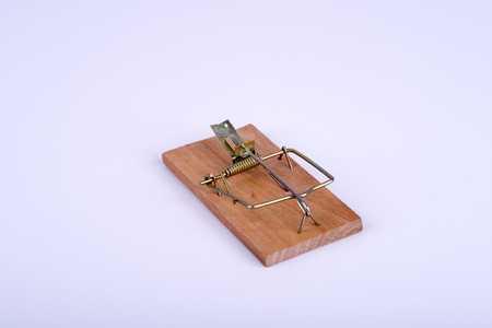 tempt: Photo of mouse trap on white background Stock Photo