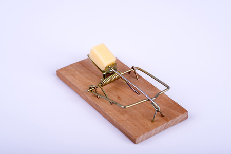 Photo of mouse trap on white background Stock Photo