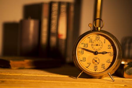 old alarm clock on background Stock Photo