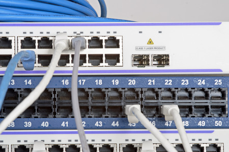 dsl: Photo of big server and wires. Stock Photo