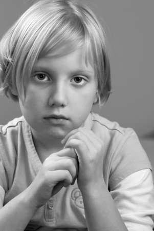 B&W portret child in studio. The beautyful model. Stock Photo