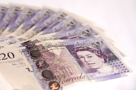 A pile of British twenty pounds banknotes