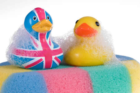 Two rubber duck  against a bubbly