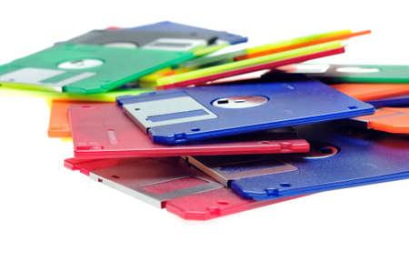 Floppy disks isolated on white background Stock Photo